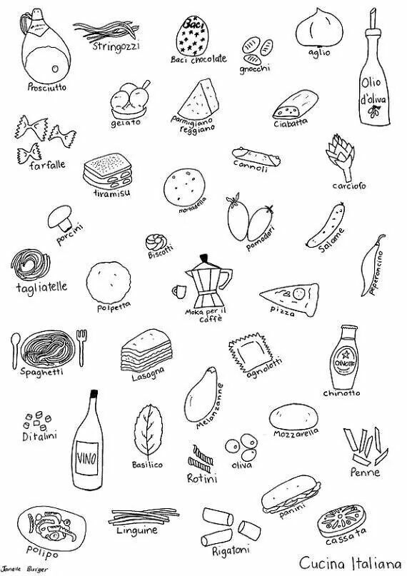 italian food coloring pages | 48 best Free Coloring in Spanish images on Pinterest ...
