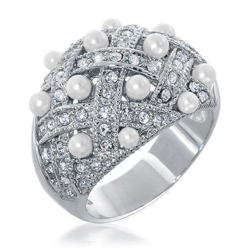 Bling Jewelry Basket Weave Cubic Zirconia Pearl Cocktail Ring