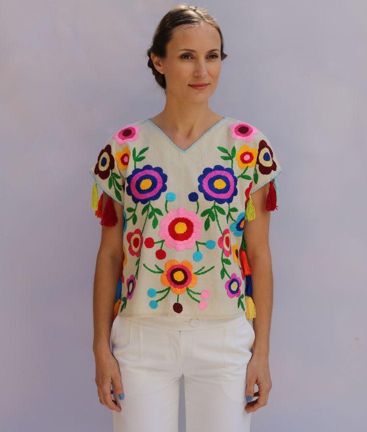 Bright multi-color White side tassel short flower power embroidery blouse kaftan style . XS-XXL