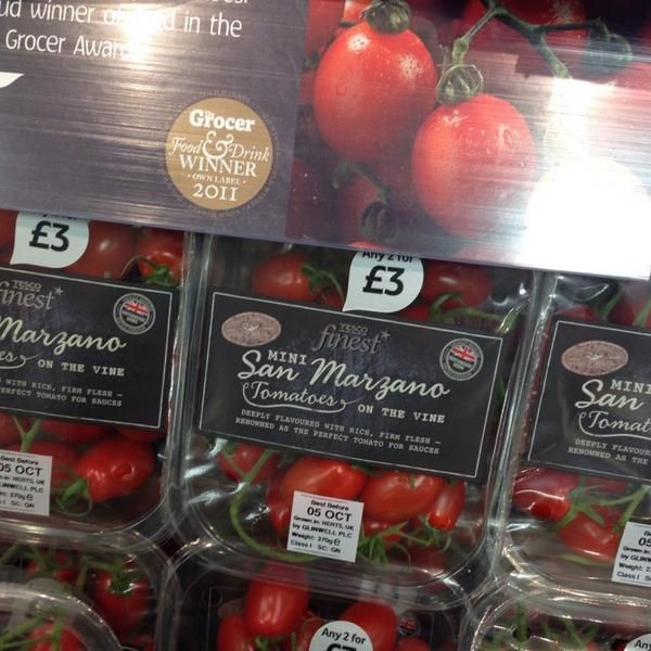 tesco mini san marzano tomatoes punnets