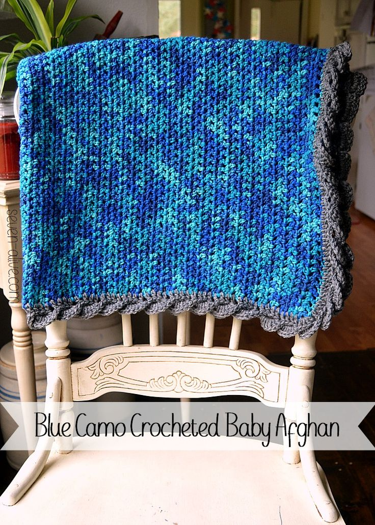 Blue Camo Crocheted Baby Afghan With Fan Edging Warm