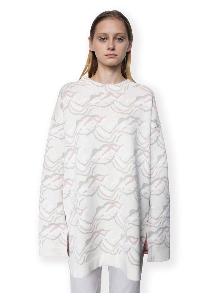 Jacquard Knitted Jumper-Beige
