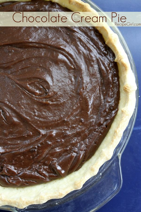 Chocolate Cream Pie - RecipeGirl.com #recipe