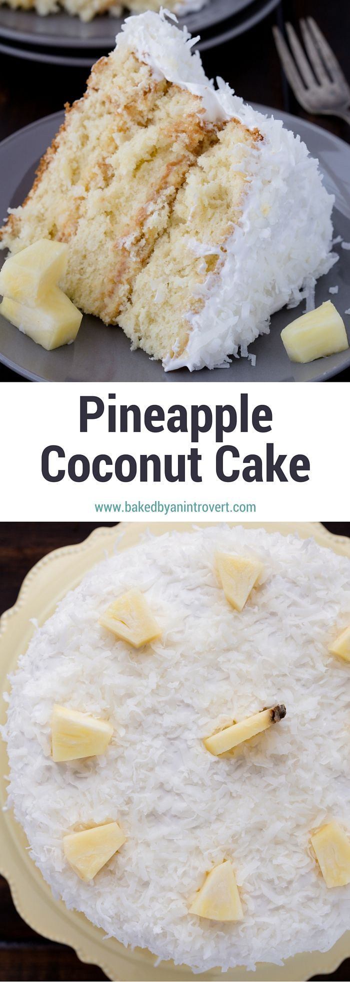 If you are crazy for pineapple and coconut, then this triple layer Pineapple Coconut Cake is for you! Three layers of homemade moist, fluffy coconut cake separated by rich and sweet pineapple curd and frosted with light and airy 7-minute frosting.