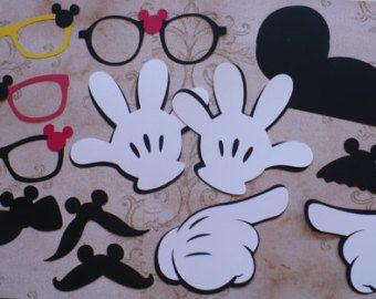 25 negro Minnie Mouse cabeza formas blanco círculo formas