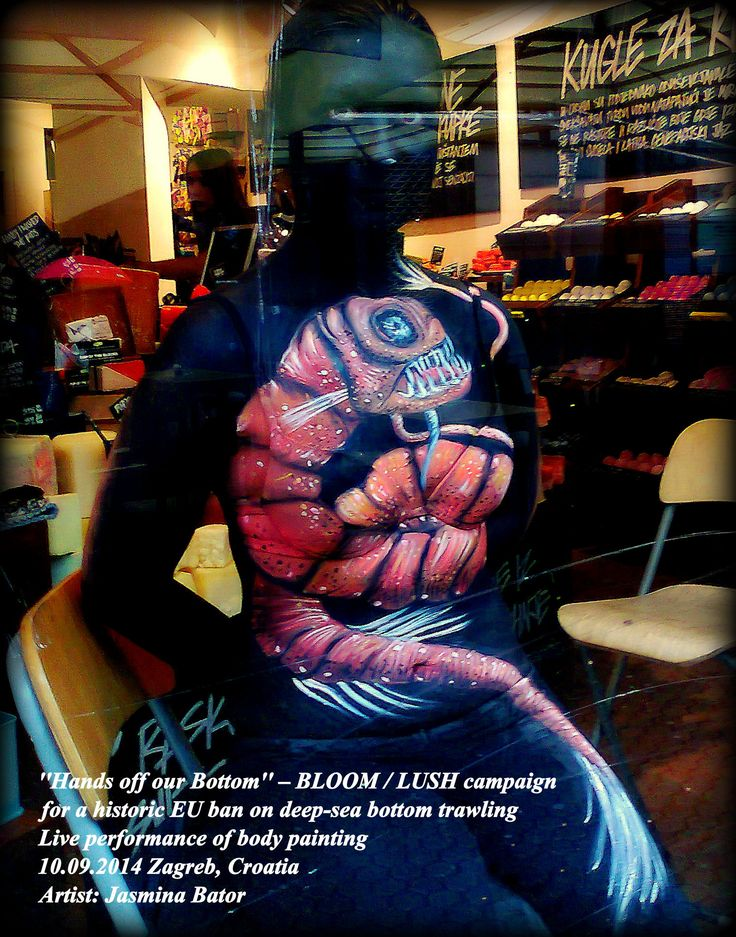 ''Hands off our bottom'' BLOOM/LUSH campaign for historic EU ban on deep-see bottom trawling.  Live performance of body painting/ 10.09.2014, Zagreb,Croatia/ Artist: Jasmina Bator/ Model: Maja Dugać/ Theme: Melanostomias tentaculatus - Deep Sea Dragonfish / Viperfish. https://www.facebook.com/media/set/?set=a.10152653717399178.1073741869.27577149177&type=1 the gardian: http://www.theguardian.com/artanddesign/gallery/2014/sep/11/deep-sea-body-painting-in-pictures