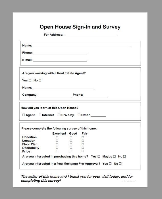 Simple Real Estate Open House Sign In Survey Sheet Pdf Download