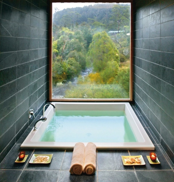 a window and a soaker tub. all you need. (cradle mountain lodge, tasmania)