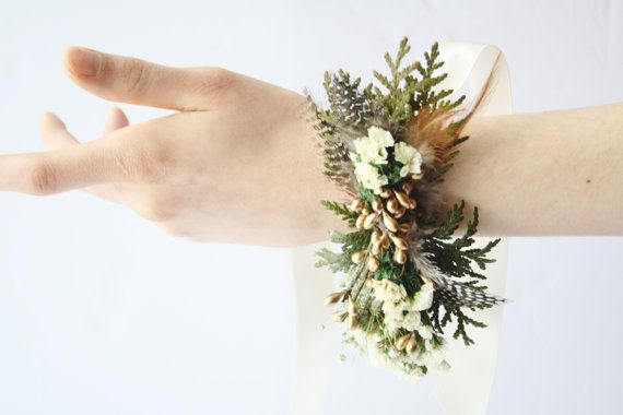 Rustic Corsage gold feather corsage Woodland cedar corsage flower white flower corsage winter wedding wrist wrap gold  bridal corsage THEA