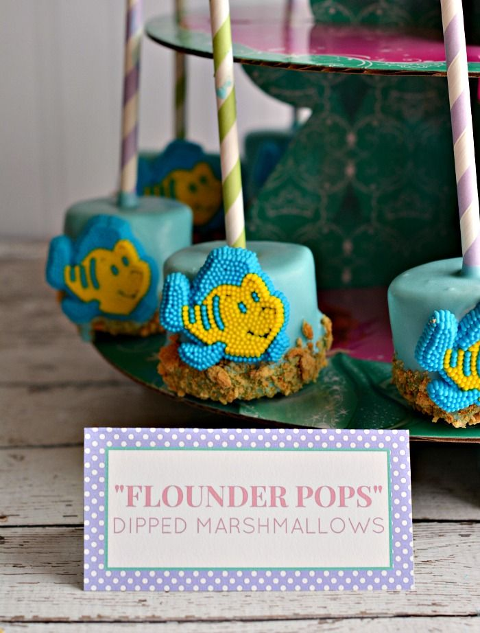 Flounder Dipped Marshmallow Pops with Candy Melts for an Ariel themed Birthday Party