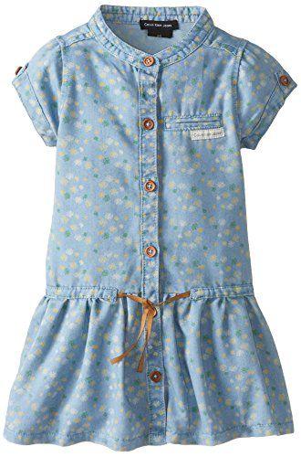 Calvin Klein Little Girls' Blue Denim Dress with Yellow Flowers Print, Blue, 2T…