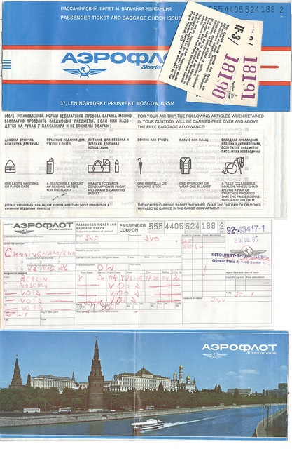 My Aeroflot Airlines ticket for August 23, 1985. This is an image of each part of this ticket including the baggage claim.     http://www.maxonking.com