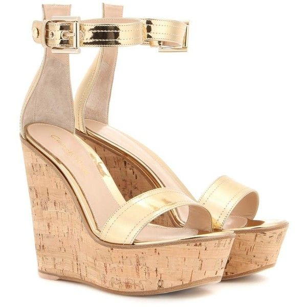Gianvito Rossi Metallic Leather Wedges ($370) ❤ liked on Polyvore featuring shoes, sandals, wedges, heels, pumps, gold, wedge shoes, metallic leather sandals, metallic sandals and gianvito rossi shoes