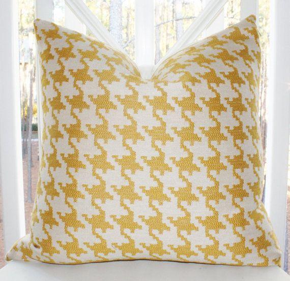 Yellow Houndstooth Lumbar Pillow Cover - Yellow Gold Geometric Houndstooth Linen Pillow - Throw ...