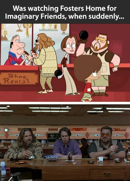 Foster Home for Imaginary Friends homage to The Big Lebowski.