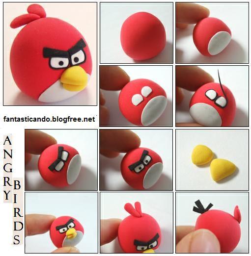 Red Angry Bird Fondant Tutorial