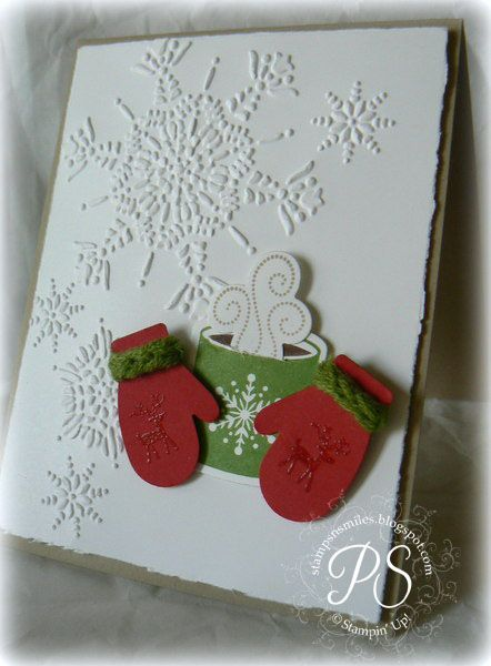 White Snowflake Card...with red mittens...Stampsnsmiles.