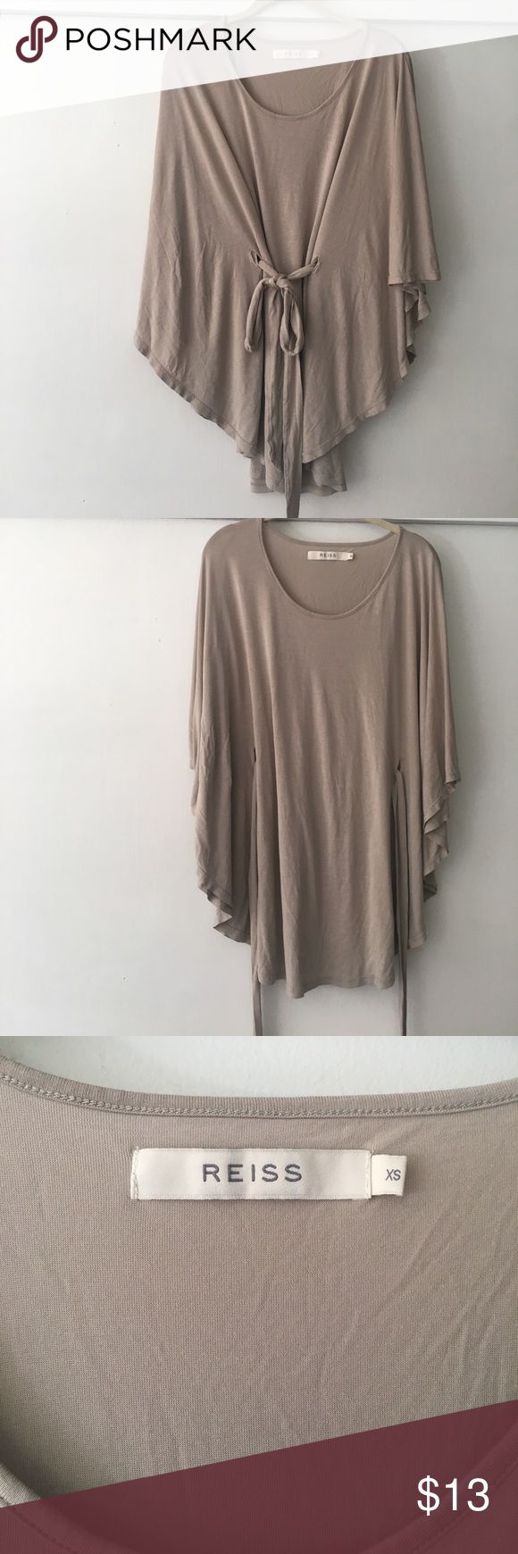 Reiss Tropez kaftan tunic Jersey knit top from U.K. Brand Reiss. Tie belt and batwing sleeves. 100%viscose. (This is not a thick knit). There are a few small holes on the belt (see last pic) Reiss Tops