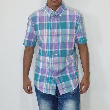 Camisa Sonoma manga corta con bolsillo a cuadros morado