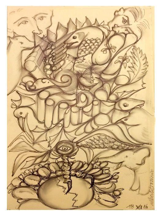 CRIATURAS DE LIBRETA DEL TELÉFONO: ESQUIZO // Son dibujos que me animan en discursos, media mente está atendiendo, la otra en esto; ¿qué deduce un psicólogo de ello?. —> http://albertotroconiz.blogspot.com.es/2016/12/criaturas-de-libreta-del-telefono.html