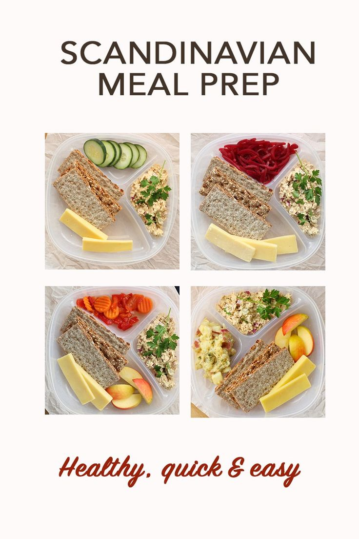 Healthy Scandinavian Lunch Meal Prep. An easy and tasty solution for a healthy new year. Salmon salad is served with nutritious crackers and veggie sides.
