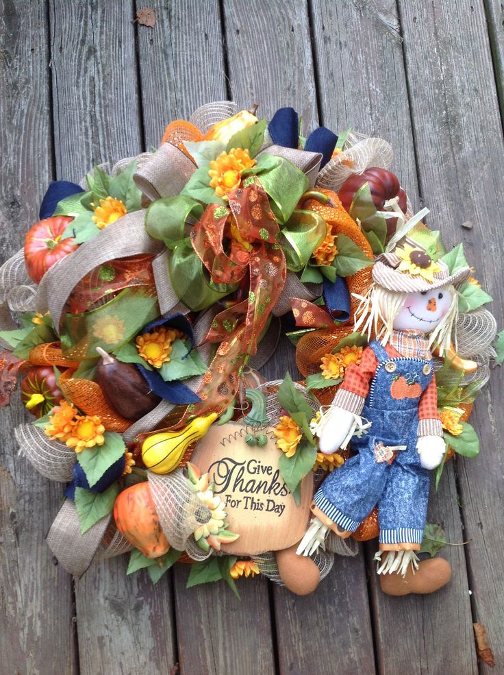 A personal favorite from my Etsy shop https://www.etsy.com/listing/535214946/give-thanks-scarecrow-fall-wreath-burlap
