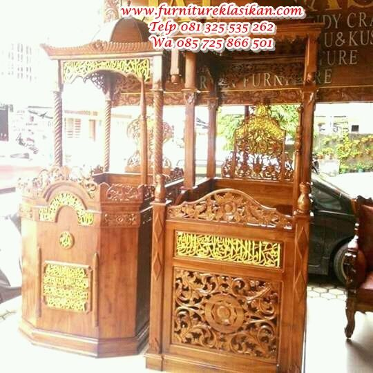 Desain Terbaru Mimbar Masjid Jepara, Model Terbaru Mimbar