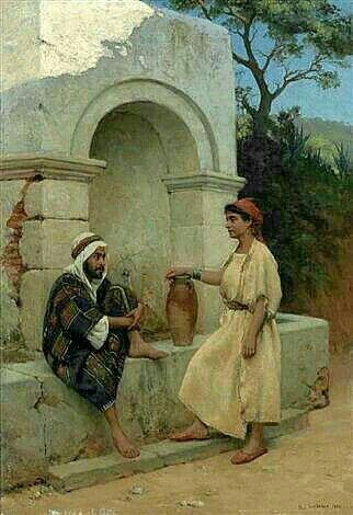 Peinture d'Algérie - Peintre Français, Paul Jean Baptiste Lazerges, (1845 - 1902),Huile sur toile1882, Titre : Une conversation au puits.