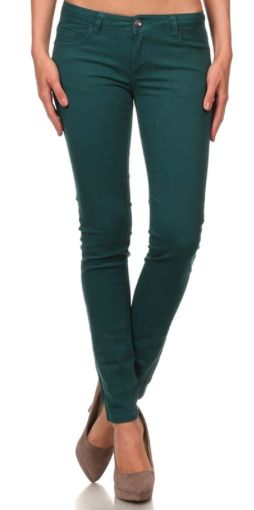 "Teal Skinny Jeans Material: 96% Cotton/4% Spandex Colors: Teal Sizes: 1-13 Fit: Skinny Model Info: 5' 8"" & 135 lbs & wore a size 7"