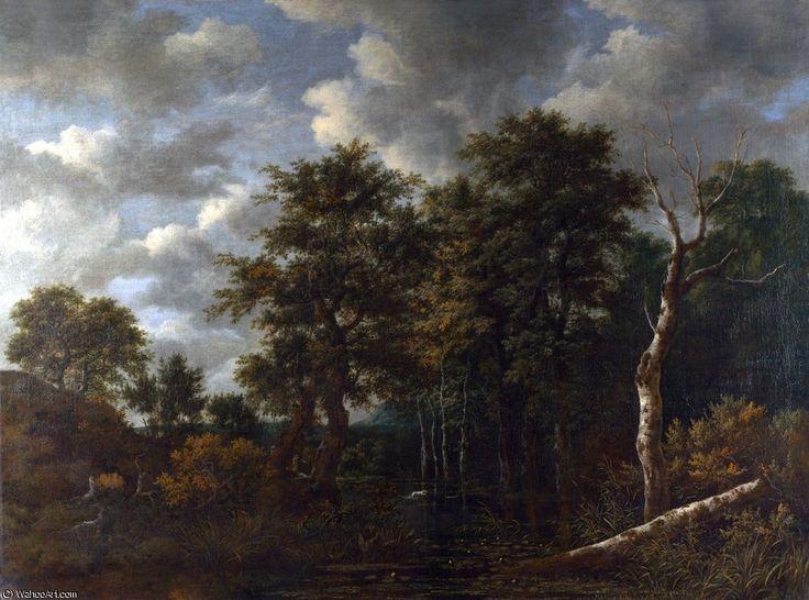 Une piscine entourée d arbres de Jacob Isaakszoon Van Ruisdael (Ruysdael) (1628-1682, Netherlands)