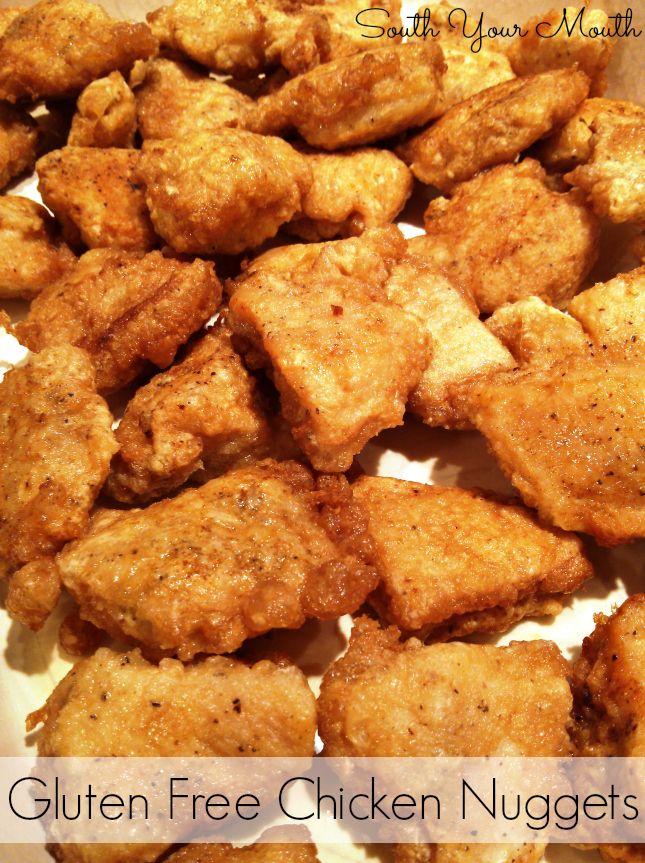 Crispy gluten free chicken nuggets breaded with egg and cornstarch.