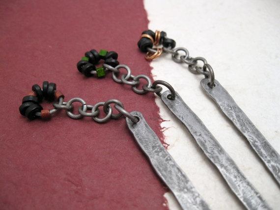 Iron Bookmark  hammered and oxidized iron with by daganigioielli, $23.00