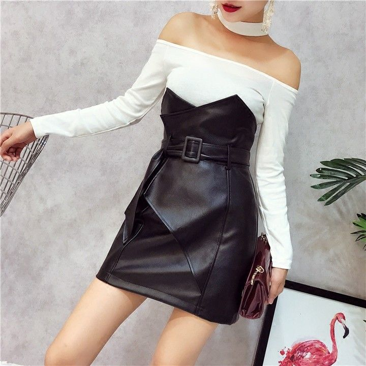 レディースボートネック長袖タイトスリム着瘦せベルトスカートファッション2点セット - Meclosetレディースファッション激安通販|10・20代女子トレンド|海外人気ファッション激安購入
