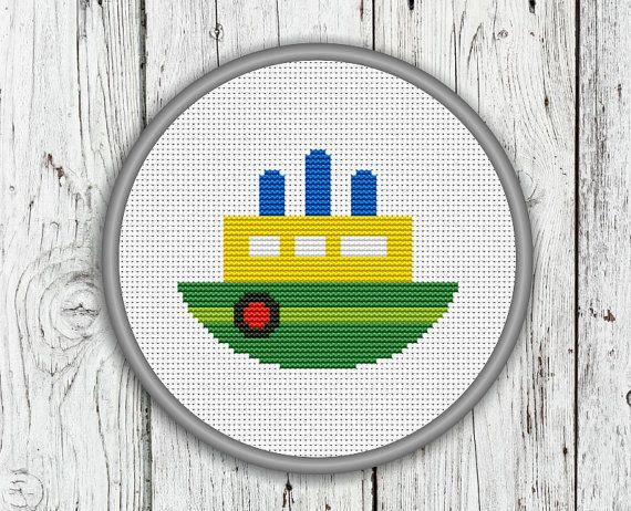 Little Ship Counted Cross Stitch Steamer by CrossStitchShop