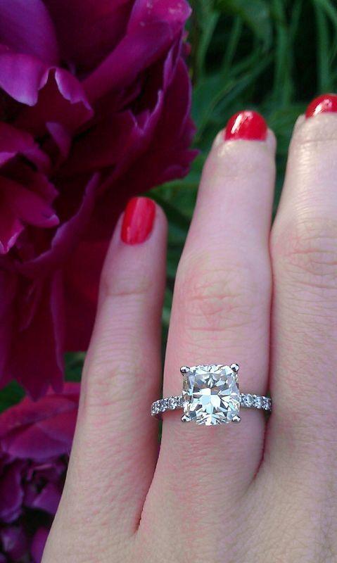 cushion cut diamond engagement ring.