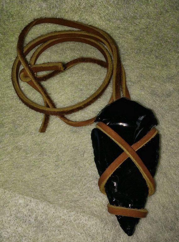 Obsidian Arrowhead Necklace with Leather Wrap by Karriescrafts