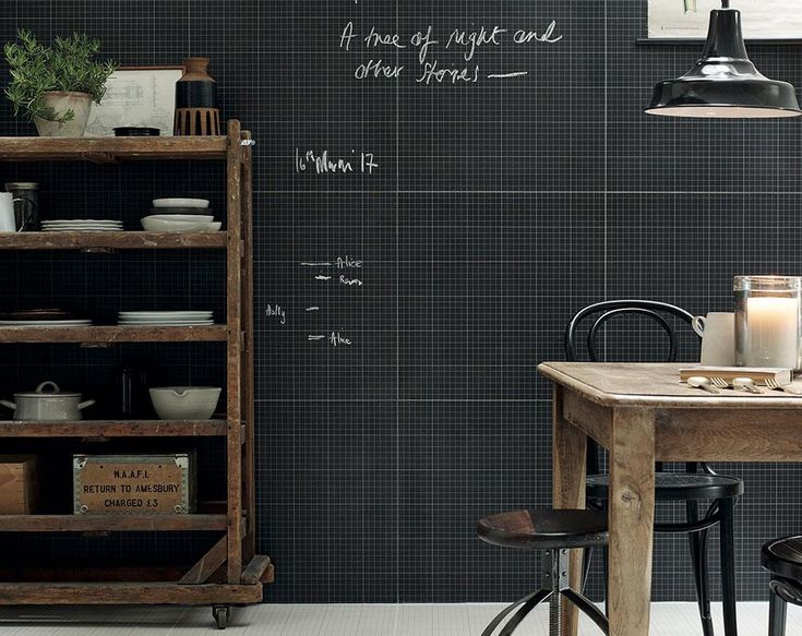 This monochromatic wallpaper by Fired Earth compliments any industrial style kitchen and is a great way to keep organised by allowing you to jot down your 'to-do' lists straight onto the wall. Unfortunately, this design is no longer available. For similar designs, try the Homework collection by Mini Moderns. Image courtesy of Fired Earth.