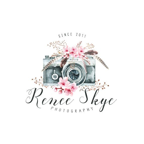 premade logo camera logo boho photography logo and watermark design business branding photography watermark calligraphy logo feathers camera - Graphic Design Business Ideas