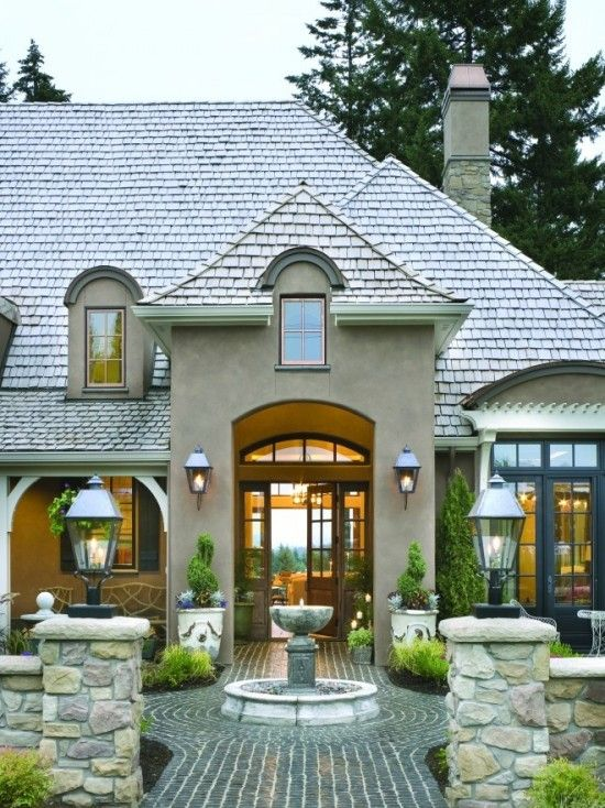 Alan Mascord Design Associates Inc; HouzzDreams, Exterior Design, Front Doors, Curb Appeal, Traditional Exterior, Front Entrance, House, French Country Design, Courtyards