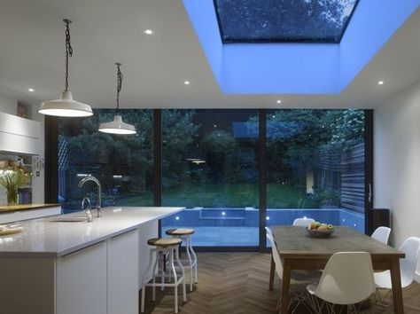 This Edwardian terraced house incorporates Glazing Vision's Flushglaze fixed roof light for the requirement of natural lighting.