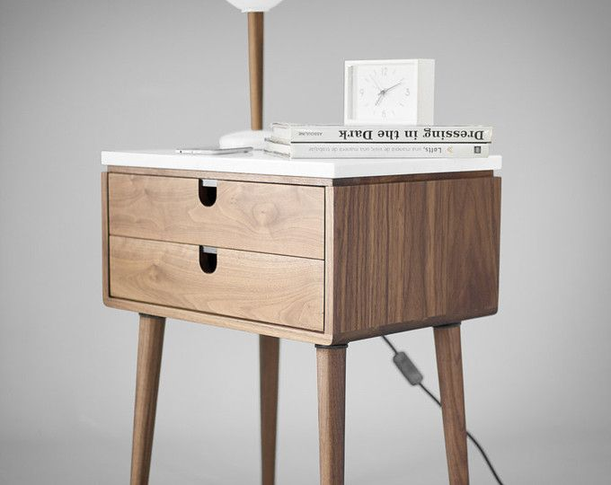 walnut midcentury bedside table nightstand in solid walnut board legs made