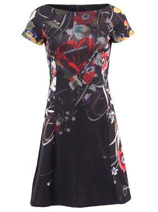 Desigual - Černé šaty se síťovinou  Lara - 1
