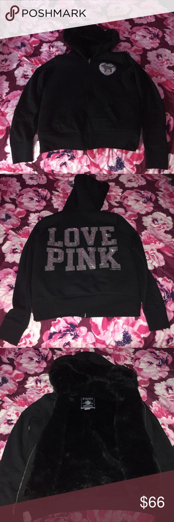 VS Pink Bling Fur Lined Hoodie Size Medium  Excellent conditions  Worn twice PINK Victoria's Secret Sweaters
