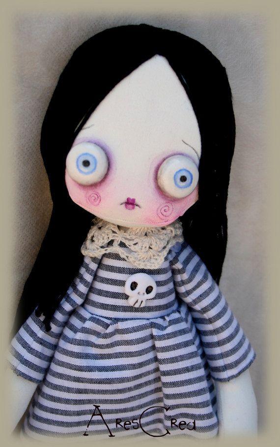 Caffeina handmade creepy cute zombie art cloth doll by AresCrea, $55.00  #goth…
