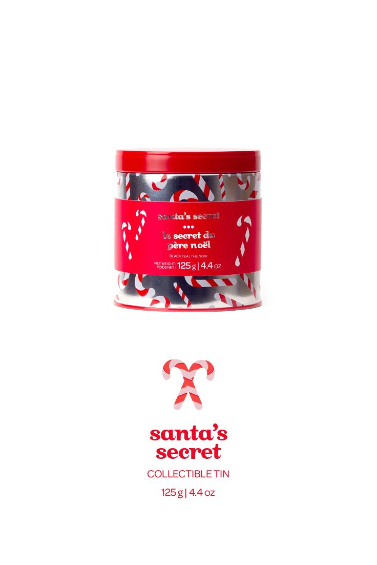 Minty black tea with candy cane sprinkles - in a limited edition tin.