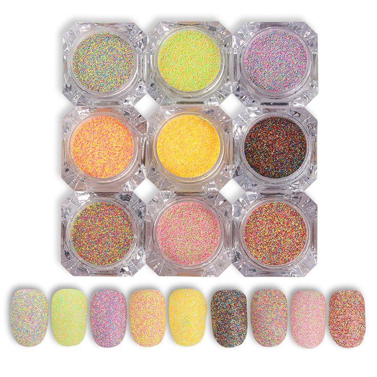1 Box Nail Art Candy Sugar Mixed Nail Glitter Powder Manicure Nail Art Glitter Manicure Decorations 9 Colors