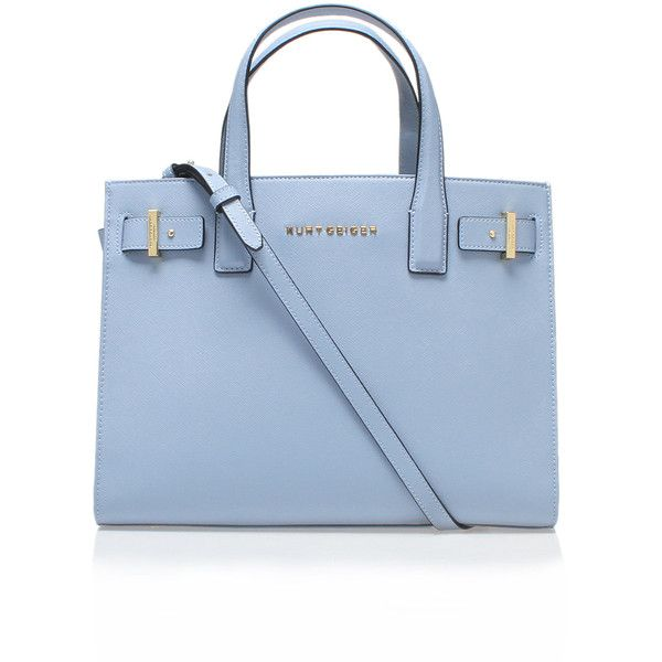 Saffiano London Tote Kurt Geiger London Blue ($320) ❤ liked on Polyvore featuring women's fashion, bags, handbags, tote bags, blue, leather tote, tote purse, blue handbags, handbags totes and blue tote bag