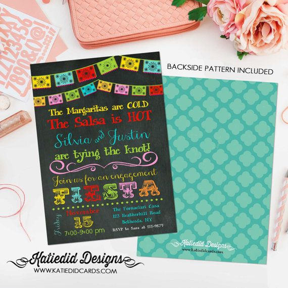 fiesta invitation couples shower Papel Picado chalkboard rehearsal dinner engagement invitation party bash (item 301) shabby chic invitation