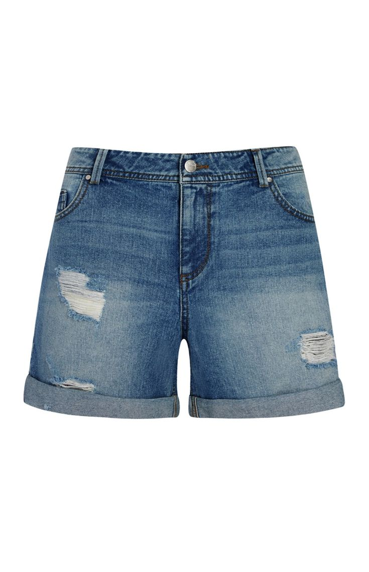 Mid Blue Denim Boyfriend Shorts