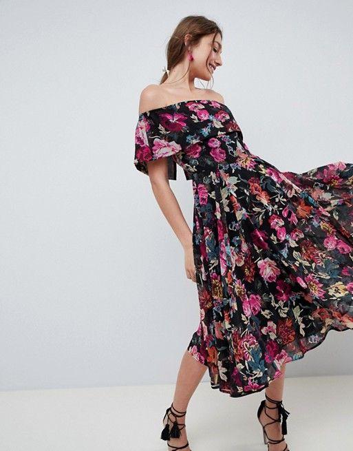 015009397491f DESIGN Bardot Midi Dress In Dark Based Floral | { wishlist ...